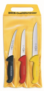 F Dick Set of 3 Ergogrip Knives, 3 colors in pouch     F Dick 8255100